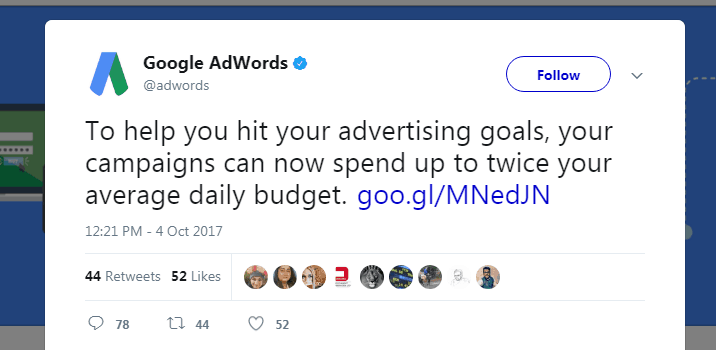 Google verdubbelt dagbudgetten in AdWords
